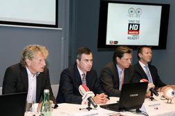 Präsentierten heute HD Austria: Gerhard Riedler, Geschäftsführer IP Österreich, Olaf Castritius, Vice President M7 Group, Dr. Michael Stix, Geschäftsleitung ProSiebenSat.1 Austria Gruppe und DI Norbert Grill, Geschäftsführer ORS (v.l.n.r).
