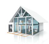 Bei dem Smart Home Konzept sind die verschiedenen Gewerke wie Heizung, Beleuchtung, Haushaltgeräte, Computer, Radio, TV etc. miteinander vernetzt. (Quelle - Kellendonk Elektronik GmbH)