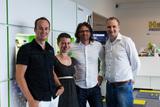 Oliver Bierbaumer (MMC), Martina Zechner (Inhaberin Austrocom), Manfred Puschl-Schliefnig und Smart Mobile-GF Robert Ribic setzen auf Kooperation im FH.