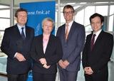 Lothar Roitner, Vizepräsident FMK, FMK-GF Margit Kropik, FMK-Präsident Jan Trionow und Matthias Pázmándy präsentierten heute den FMK-Bericht zum Mobilfunkmarkt 2012. (Foto: Dominik Schebach)