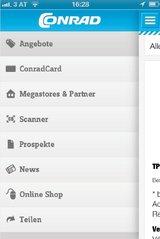 """Neben der """"Conrad Katalog App"""" für das iPad ist nun auch die neue """"Conrad App"""" für iPhone und Android-Smartphones erhältlich.(Foto: Screenshot Conrad-App)"""