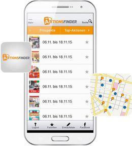 Dank Location Based Service bekommen Konsumenten über die Aktionsfinder-Website oder -App gezielt nur jene Prospekte angezeigt, die zu ihrem aktuellen Standort passen.