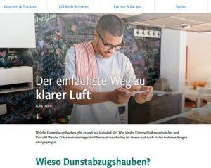"""Die größte deutschsprachige Info-Plattform für moderne Hausgeräte www.bewusst-haushalten.at stellt nun in einem gesonderten Bereich das Thema """"Dunstabzugshauben"""" vor. (Screenshot bewusst-haushalten.at)"""