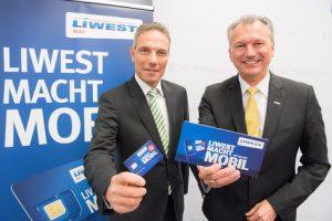 Präsentierten den neuen österreichischen Mobilfunk-Tarif LIWEST Mobil: ventocom-Geschäftsführer Michael Krammer (li.) und LIWEST Kabelmedien-Geschäftsführer Günther Singer. (©LTK Telekom und Service GmbH)