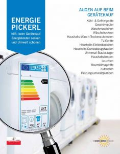 """Der OÖ Energiesparverband rät: """"Augen auf beim Gerätekauf! Nur A+++-Geräte kaufen. Das 'Energie-Pickerl' hilft Kosten und Energie zu sparen! Ab Dezember sind A+-Geschirrspüler die Energiefresser."""""""