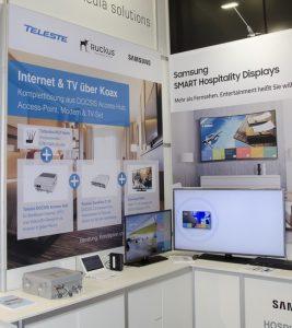 Als Highlights zeigte man eine Hotel-TV Komplettlösung auf DOCSIS-Basis von Teleste, Ruckus und Samsung… Komplettlösung auf Grundlage des DOCSIS Standardsrden