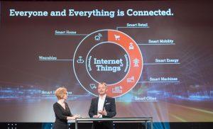 A1 ÖSterreich CEO Marcus Grausam präsentierte einige der IoT-Anwendungen, die heute schon möglich sind.