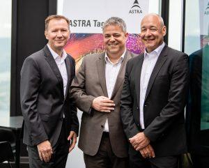 Boten am Astra Tag 2019 Einblicke in die aktuellen Entwicklungen am TV-Sektor (v.l.n.r.): Norbert Grill, Geschäftsführer der ORS, Christoph Mühleib, Geschäftsführer ASTRA Deutschland GmbH und Norbert Hölzle, Geschäftsführer ASTRA Deutschland GmbH.