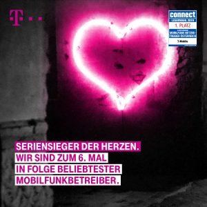 """T-Mobile Austria wurde zum sechsten Mal in Folge von den Leserinnen und Lesern des angesehenen Fachmagazins """"connect"""" zum beliebtesten Mobilfunknetzbetreiber Österreichs gekürt."""