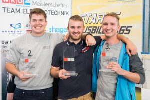 So sehen Sieger aus (v.l.n.r.): Tobias Leitner (2. Platz), Raphael Aichinger (1. Platz) und Manuel Nutz (3. Platz) hatten beim diesjährigen Landeslehrlingswettbewerb die Nase vorn.