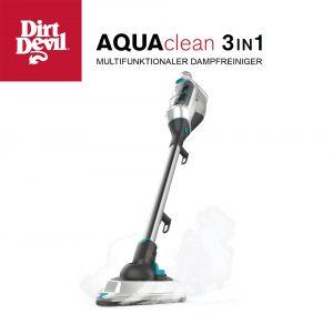 Der Dirt Devil AQUAclean 3in1 (DD303-0) reinigt als multifunktionaler Dampfreiniger mit rund 100 Grad heißen Dampf und dank seines umfangreichen Zubehörpakets auch schwer zugängliche Stellen.