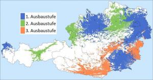 Die Digitalradio-Landkarte: So sollen die Empfangsgebiete am Ende der drei DAB+ Ausbaustufen verteilt sein.
