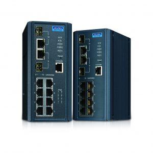 Mit integriertem Security Pack und IXM Software sorgen die managed Switches der Advantech EKI-7710 Serie für zuverlässige und sichere Kommunikation in industriellen Netzwerken.