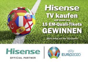 Im Rahmen der Aktion haben alle Käufer eines Hisense TV bis Ende September die Chance, ein Ticket für die Österreich EM-Qualifikationsspiele zu gewinnen.