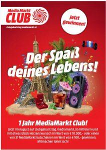 Der MediaMarkt-Club wird ein Jahr alt und MediaMarkt veranstaltet aus diesem Grund ein Gewinnspiel. (Bild: MediaMarkt)