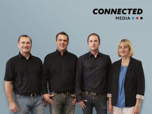 Das bewährte Team von Kramer Electronics Austria segelt ab 1. Oktober unter neuer Flagge. Die Connected Media GmbH (im Bild v.l.n.r.: Thomas Karner, GF Matthias Hartl, GF Hermann Schirnhofer und Andrea Paischer) übernimmt den exklusiven Österreich-Vertrieb des Kramer Produktsortiments.