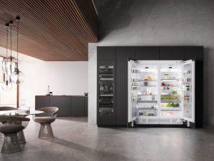 Groß, geräumig und sehr repräsentativ: Das sind die Kühlgeräte der Einbauserie MasterCool von Miele. Europäische Designqualität verbunden mit amerikanischen Dimensionen, jetzt noch einmal verbessert. (Foto: Miele)