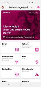 Die neue App von Magenta Telekom sammelt alle Informationskanäle auf einer Plattform. Dazu verfügt die App über einen Kalender, der auch in den Google-Kalender integriert ist, unbegrenzte Eiinkaufs- und To-Do-Listen, 10 GB Medienspeicher, eine Chat-Funktion, sowie eine Standort- und Pick-me-up-Funktion.