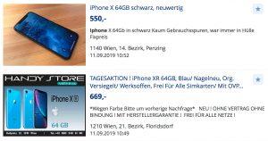 Rund um die Vorstellung der neujüngsten iPhone-Modelle analysierte willhaben erneut das umfangreiche iPhone-Angebot am Marktplatz und verrät aktuelle Preise sowie Verkaufsaussichten. (Bild: Screenshot willhaben)