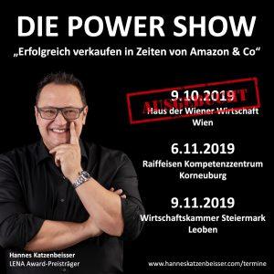 Am 6. November und am 9. November 2019 lädt Hannes Katzenbeisser zu seiner Power Show – kostenlos.