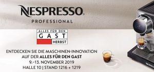 """Auch in diesem Jahr nimmt Nespresso Professional an der Branchenmesse """"Alles für den Gast"""