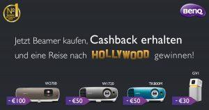 Bei ausgewählten BenQ Beamern erhalten Kunden bis zu 100 Euro Geld zurück und nehmen automatisch an der Verlosung einer Reise in die amerikanische Filmhauptstadt teil.