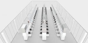 Herstück bilden die vollautomatisierten Prüfplätze - von diesen sollen im Endausbau 102 zur Verfügung stehen.
