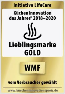 """WMF wurde für zwei seiner Produkte mit dem Preis """"KüchenInnovation des Jahres 2020 - Ausgezeichnetes Produkt"""" ausgezeichnet. Da WMF bereits zum dritten Mal prämiert worden ist, erhält die Marke zudem den Sonderpreis """"Lieblingsmarke in Gold"""" – eine Auszeichnung, die nur im Drei-Jahres-Rhythmus vergeben wird."""