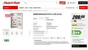 """Der VKI klagte die MS E Commerce GmbH. Der Grund: Auf der Website mediamarkt.at fehlte bei manchen beworbenen Produkten der Hinweis auf das Bestehen eines Gewährleistungsrechts und die Bedingungen der Garantie. Bei anderen Produkten mussten Verbraucher, um den Hinweis auf die gesetzliche Gewährleistung zu erhalten, auf das Kästchen """"Alle Produktdetails aufklappen"""" klicken, oder sie mussten die AGB in der Bestellübersicht nach Eingabe der persönlichen Daten, der Versanddetails und der Zahlungsdaten herunterladen, um sie lesen zu können. (Bild: Screenshot mediamarkt.at)"""