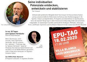 Am 18. Februar findet der 15. EPU-Tag in Innsbruck statt. Unter den Vortragenden befinden sich Toni Innauer und Hannes Katzenbeisser.