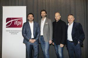 Im Bild v.l.n.r.: IFPI-Präsident Dietmar Lienbacher (Sony Music), IFPI Vorstandsmitglied Cornelius Ballin (Universal Music), IFPI Vorstandsmitgliedund Franz Pleterski (Warner Music), IFPI Geschäftsführer Franz Medwenitsch.
