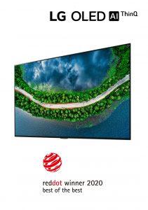 """LG's herausragende Leistungen im Produktdesign werden mit 19 Auszeichnungen anerkannt, darunter der begehrte """"Best of the Best""""-Preis für den 65-Zoll-OLED-Fernseher der GX Gallery-Serie (Modell 65GX)."""
