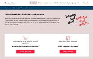 Eine neue Initiative der Bundesregierung soll dabei helfen, dass mehr im österreichischen E-Commerce eingekauft wird und nicht bei Amazon & Co. (Bild: Screenshot oesterreich.gv.at)