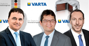 Freuen sich über die Verleihung des deutschen Innovationspreises: Herbert Schein, Vorstandsvorsitzender VARTA AG, Rainer Hald, CTO VARTA Microbattery GmbH/VARTA Storage GmbH und Andreas Fritz, Head of Global Marketing, VARTA Microbattery GmbH (v.l.n.r.).