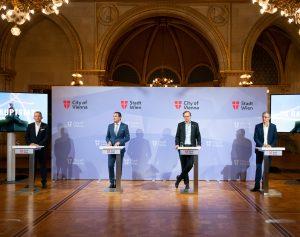 A1 CEO Marcus Grausam, der Wiener Finanz- und Digitalisierungsstadtrat Peter Hanke, Magenta CEO Andreas Bierwirth sowie Drei CEO Jan Trionow bei der heutigen Präsentation der 5G-Förderung durch die Stadt Wien.