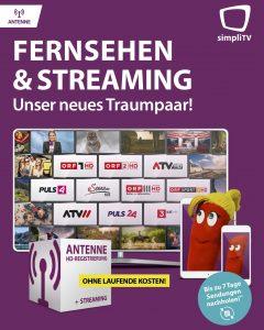 Bei jeder simpliTV Neuanmeldung von Antenne HD-Registrierung ist jetzt auch Streaming mit neun Sendern inkludiert.