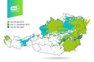Mit Ende Mai 2020 sind rund 80 % der österreichischen Bevölkerung mit DAB+ versorgt.