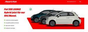 Bei MediaMarkt Deutschland kann man nun einen Fiat 500 Hybrid leasen. (Bild: Screenshot mediamarkt-autos.de)