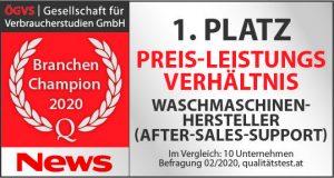 """Gorenje Österreich ist """"Branchen Champion 2020 für After-Sales-Support""""."""