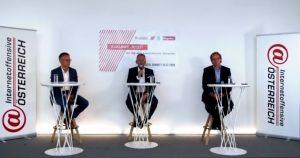 Die CEOs der heimischen Netzbetreiber, Jan Trionow (Drei), Marcus Grausam (A1) sowie Andreas Bierwirth (Magenta) forderten heute im Rahmen der Internetoffensive Österreich verbesserte Rahmenbedingungen für den 5G-Ausbau.