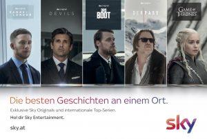 """Die österreichweite Marketing-Kampagne """"Die besten Geschichten an einem Ort."""" läuft bis Mitte August und umfasst alle Mediengattungen von TV, Radio, Print bis Digital. Im Zentrum steht das Sky Entertainment Paket."""