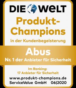 """Bei der Studie """"Produkt-Champion 2020"""" wählten Kunden den Sicherheitsexperten ABUS zum Gesamtsieger."""