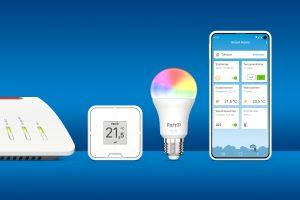 AVM wird auf der IFA Special Edition 2020 FRITZ!-Produkte für den neuen WLAN-Standard WiFi 6 vorstellen. Mit dabei sind auch die seit kurzem verfügbaren Smart-Home-Produkte, die LED-Lampe FRITZ!DECT 500, der smarte Vierfachtaster FRITZ!DECT 440 sowie die neue FRITZ!App Smart Home.