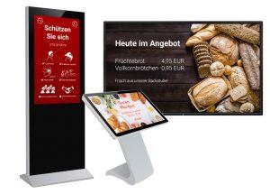 Das In Touch Digital Signage Starterpack hilft Einzelhändlern, Filialen und Gaststätten bei der digitalgestützten Umsetzung von Corona-Maßnahmen.