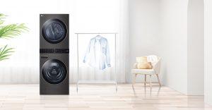 Der WashTower von LG ist eine kombinierte Lösung aus Waschmaschine und Trockner.