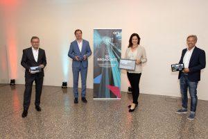 Allianz für neuen Übertragungsstandard 5G Broadcast: Alexander Wrabetz (ORF), Michael Stix (ProSiebenSat.1PULS4), Corinna Drumm (VÖP) und Michael Wagenhofer (ORS).