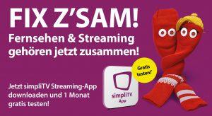 Bei der aktuellen Herbstkampagne von simpliTV rühren Socke und Sockine die Werbetrommel für das Streaming-Angebot.