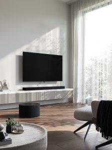 Die neue Produktlinie Loewe bild i mit der Sound-Lösung klang bar i und Subwoofer.