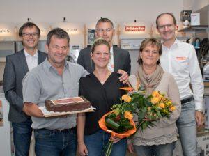 Markus Fuchsberger, Katharina Stadler (geb. Fuchsberger) und Silvia Fuchsberger gemeinsam mit Expert Mitgliederbetreuer August Pistelka, Expert ML Matthias Sandtner und Espert GF Alfred Kapfer.