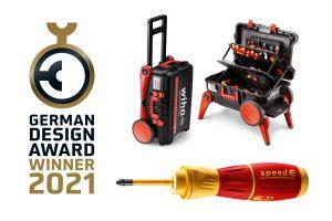 Ob Werkzeugkoffer XXL III oder E-Schraubendreher speedE II: die Jury des German Design Awards 2021 ist von beiden Produkt-Designs überzeugt und vergibt an Wiha gleich zweimal die begehrte Auszeichnung.